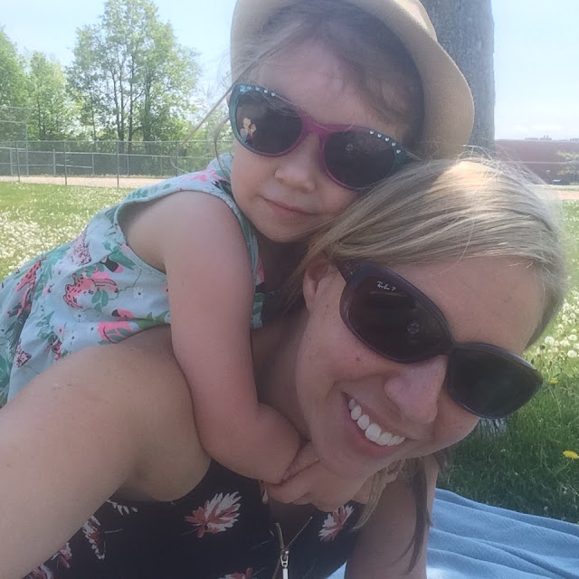 mom and little girl at the park