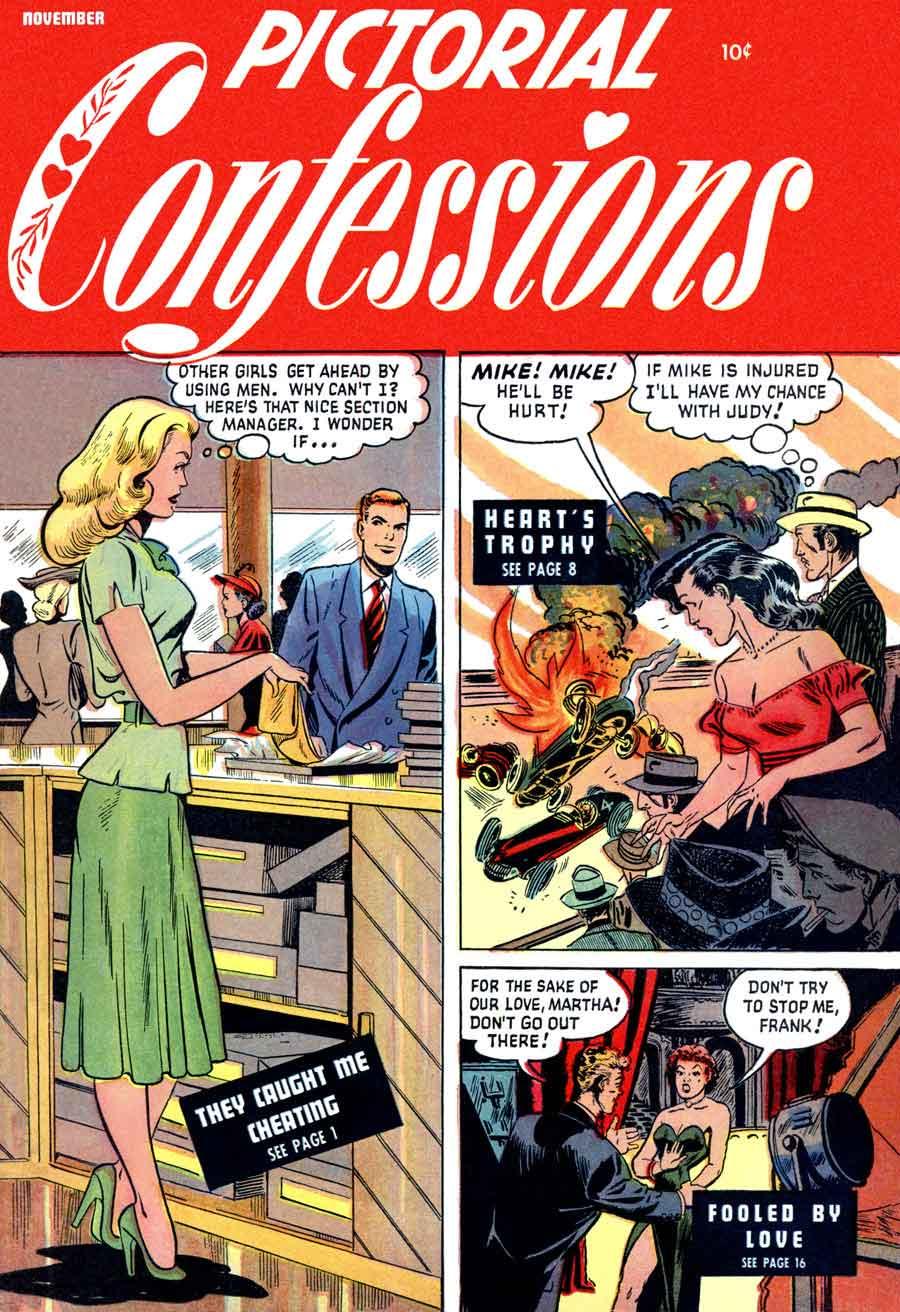 Matt Baker comic book cover art, 1940s st. john golden age romance, Pictorial Confessions v1 #3