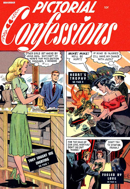 Matt Baker comic book cover art, 1940s st. john golden age romance, Pictorial Confessions v1 #3