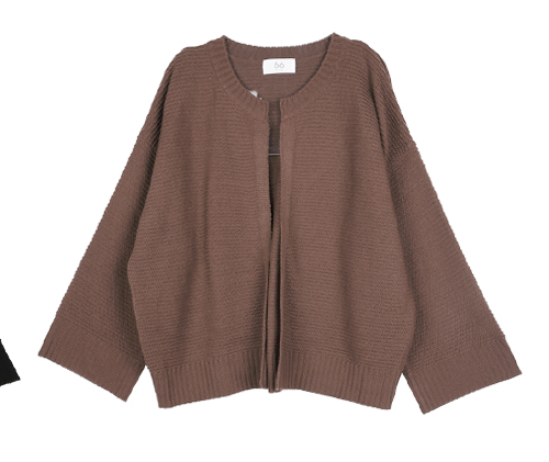 Rib Accent Open Front Cardigan