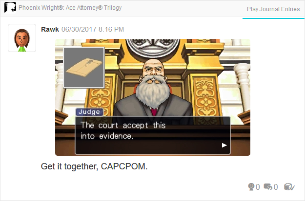 Phoenix Wright Ace Attorney Justice For All 3DS Judge typo court accept this into evidence