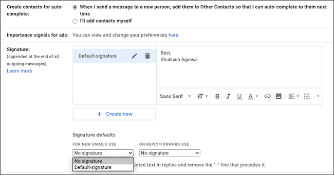 اكتب توقيع بريدك الإلكتروني في Gmail.