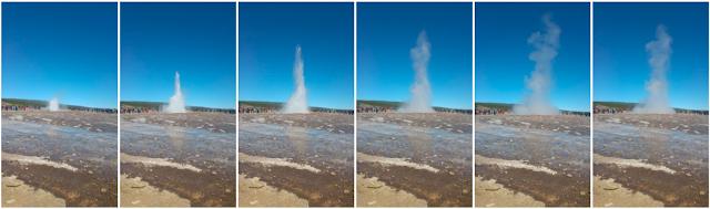 סדרת תמונות של התפרצות סטרוקור גם לאחר שההתפרצות מסתימת, הענן והרסס עוד נמצאים באוויר