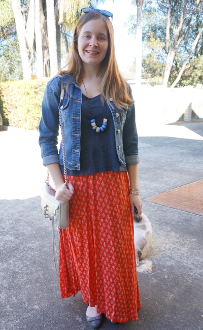 denim jacket, boho red Billabong printed maxi skirt navy tee silver bag | Away From Blue