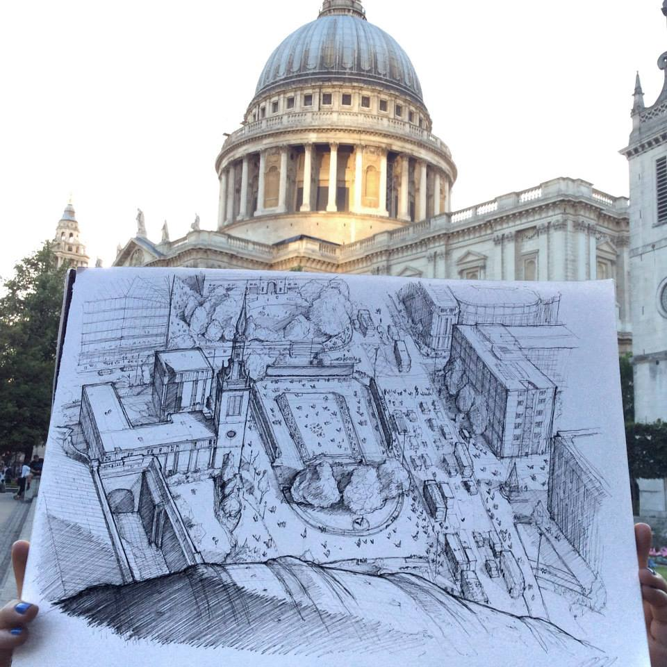08-Saint-Paul-s-Cathedral-Luke-Adam-Hawker-Creating-Architectural-Drawings-on-Location-www-designstack-co