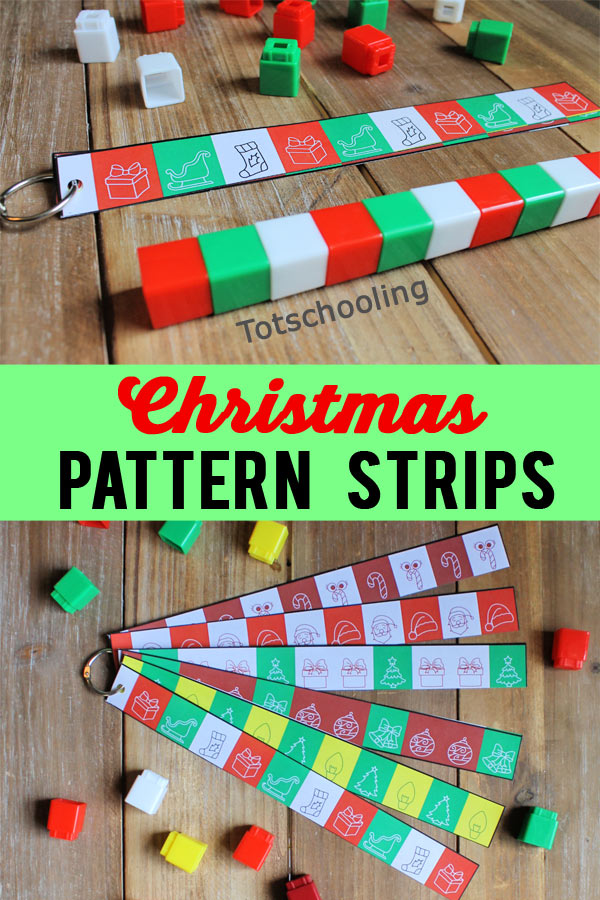 FREE printable Christmas pattern strips for preschool kids to make patterns using unifix cubes or math cubes! Great math activity to practice during the holidays!