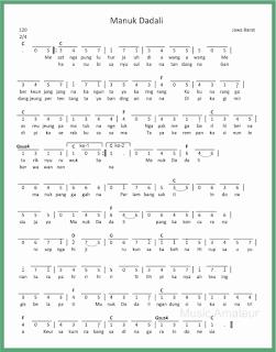 not angka lagu manuk dadali lagu daerah jawa barat