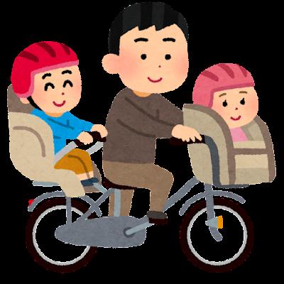 3人乗りするお父さんと子供達のイラスト