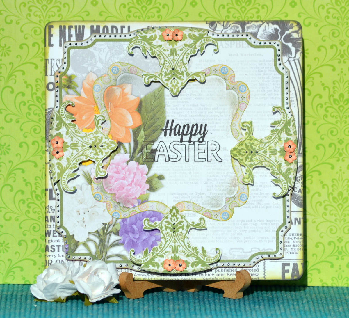 Happy Easter Greetings Handmade Cards Featuring Cottontail Double