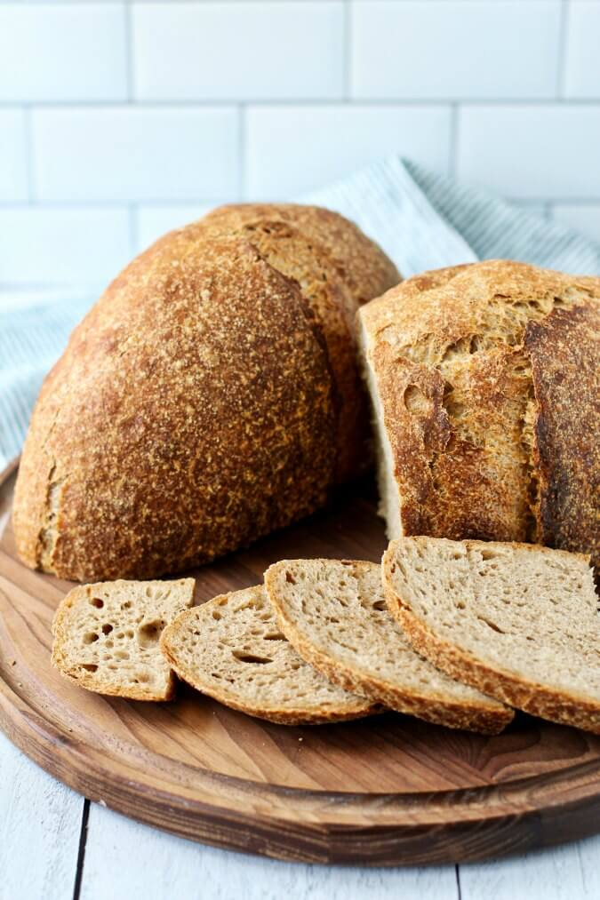 Seventy five percent Whole Wheat Sourdough Bread cut and sliced
