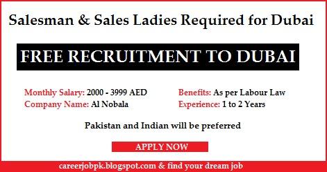 Salesman & Sales Ladies Required for Dubai