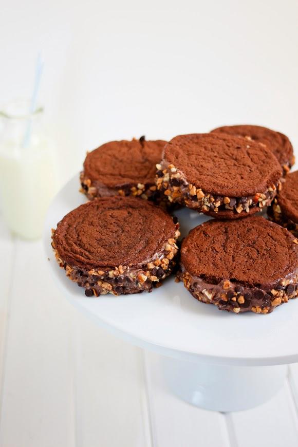 Chocolate Toffee and Nut Ice Cream Sandwiches - La Cuisine d'Helene