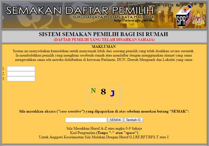 Cara Buat Semakan Daftar Pemilih Pilihanraya Secara Online