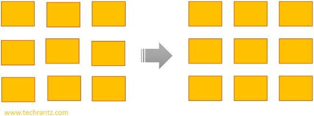 Image of 9 rectangular blocks in a Powerpoint slide, left side showing haphazard arrangement while right side showing properly aligned layout