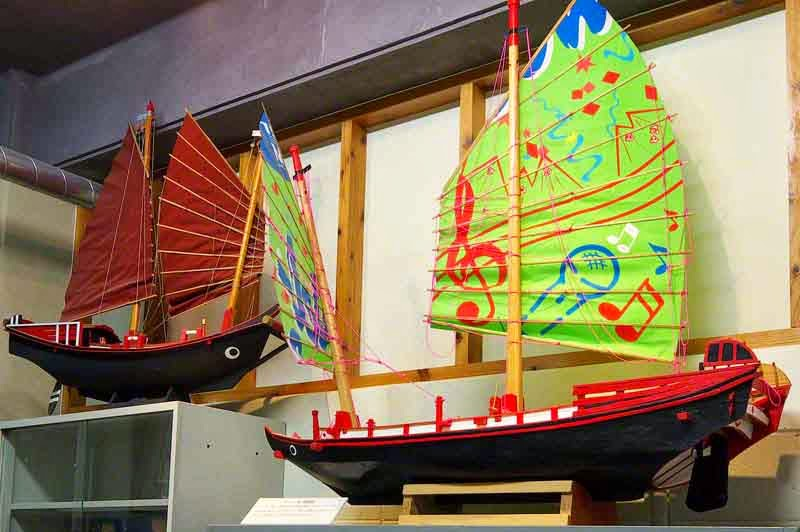 model boats in museum, sailing ships