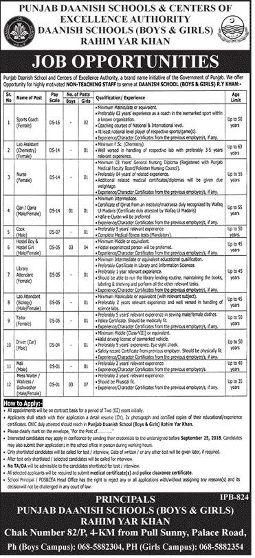 PDS&CEA Daanish School (Boys and Girls) Rahimyar Khan Jobs Sep 2018 Vacancies Advertisement Latest