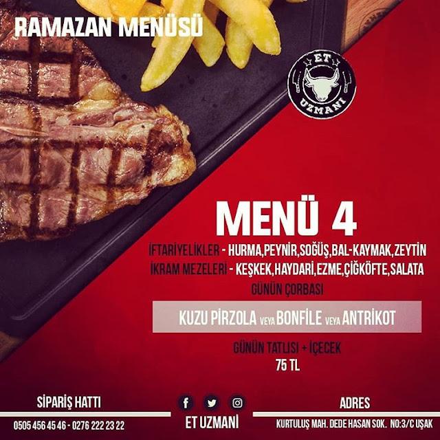 uşak merkez iftar menüleri uşak ramazan menüleri uşak restoranları