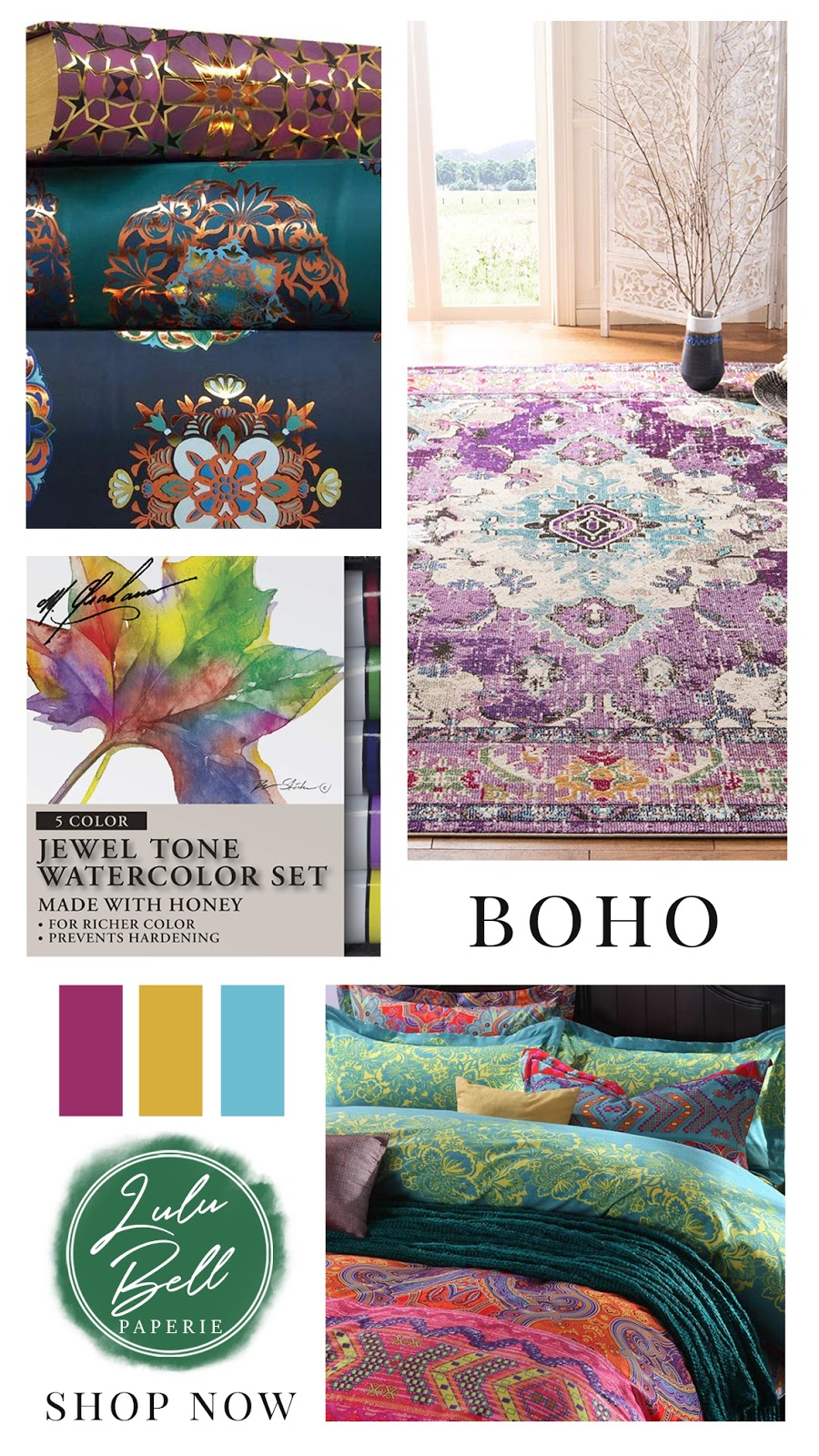 Bohemian Rainbow Home & Gifts Collection - Mandala Book Cases, Bohemian Rug, Watercolor Paint Set, and Boho Geometric Bedding Collection