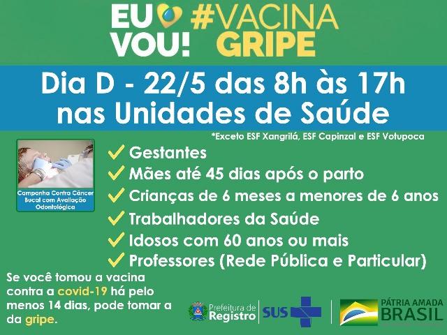 Prefeitura de Registro realiza Dia D de vacinação contra a gripe Influenza