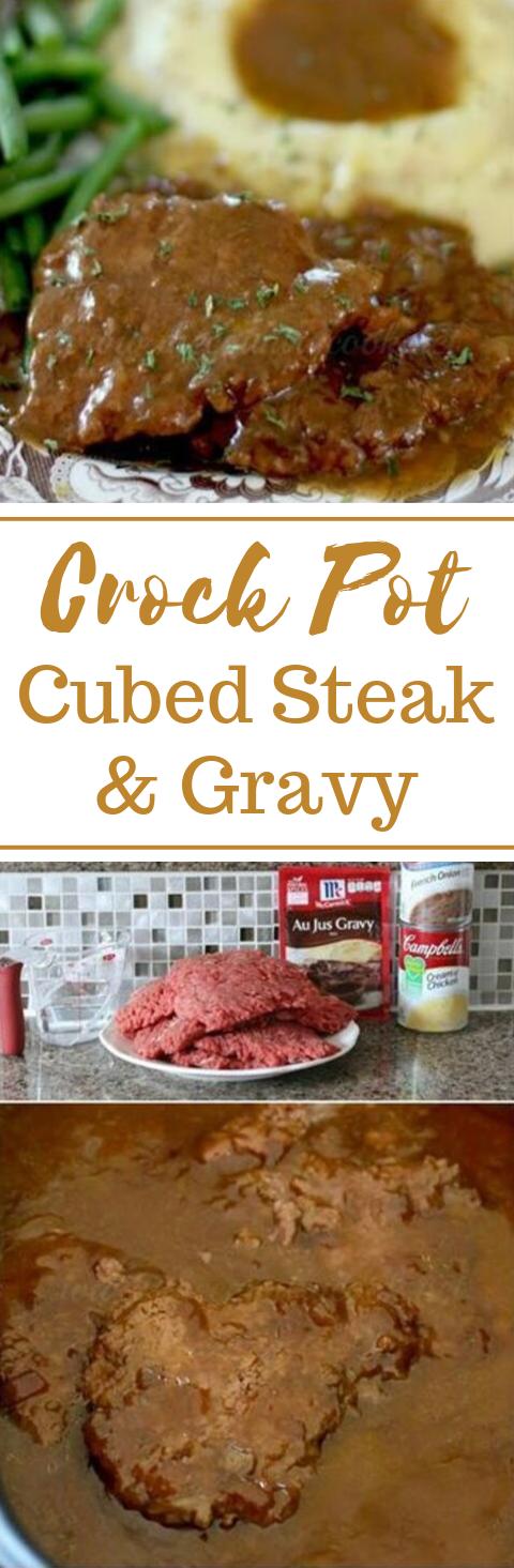 CROCK POT CUBED STEAK  #dinner #healthyrecipes #steak #familyfood #meals