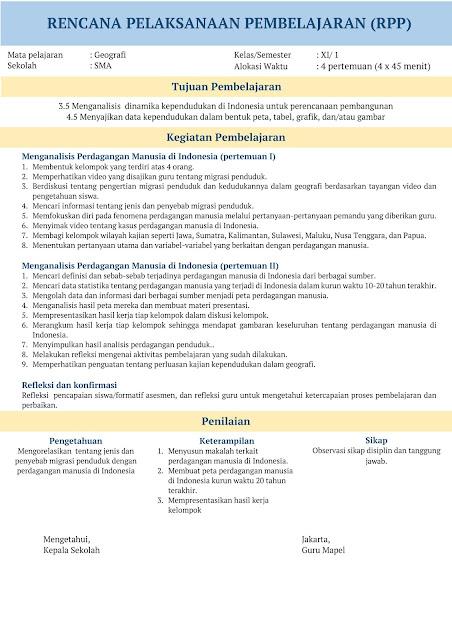 RPP 1 Lembar SMA Geografi Kelas XI Tahun Ajaran 2020-2021