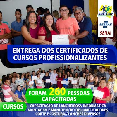 Parcerias entre Prefeitura de Anapurus, SEBRAE e SENAI realizam capacitação para 260 pessoas em diferentes cursos