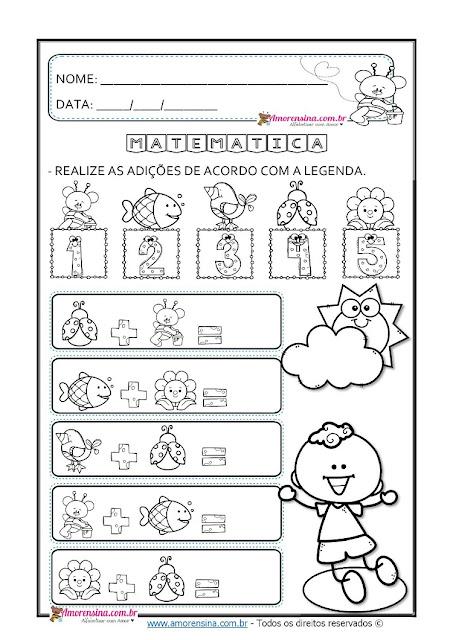 1º ano, 2º ano, Alfabetização matemática 1 ano, Amorensina, Atividades de número e quantidade, Atividades de Adição., Atividades de adição com desenhos,