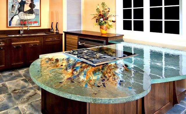 beautiful glass kitchen countertops