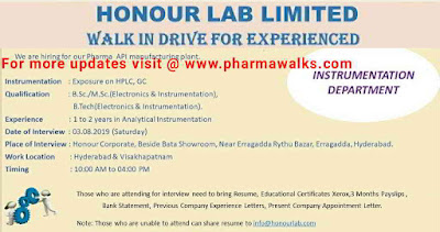 Honor Labs - Walk-in interview for Experienced candidates on 3rd August, 2019