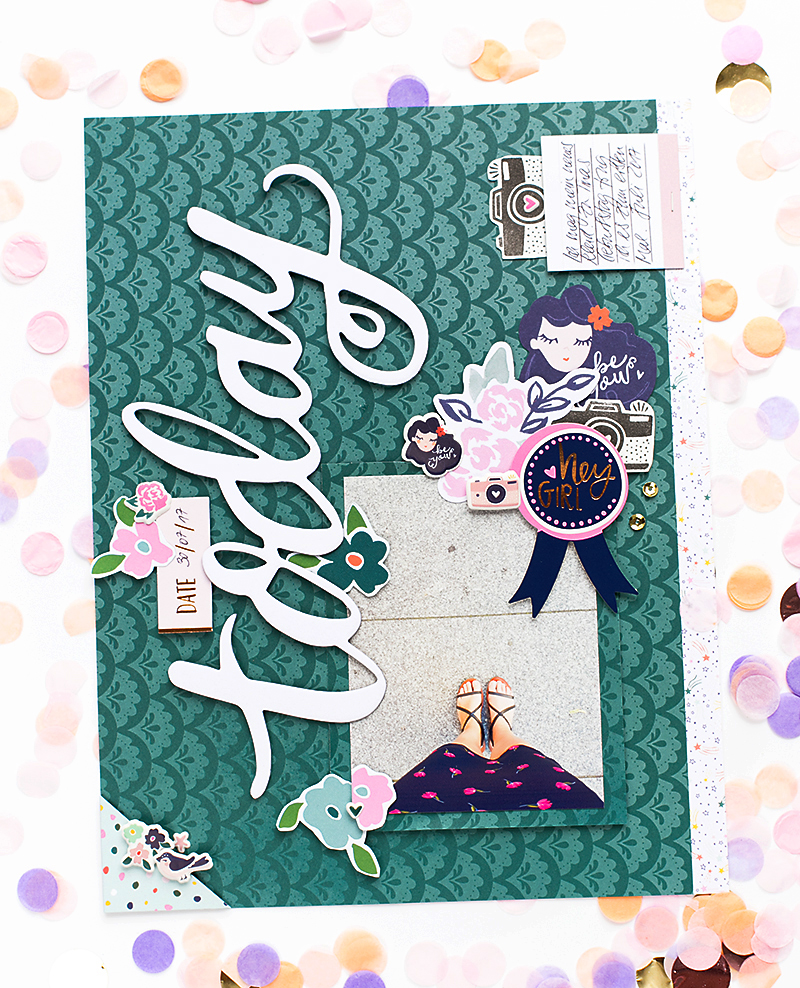 @SandraDietrich for @Americancrafts Star Gazer Dear Lizzy Scrapbook Layout