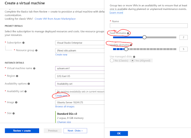 Deploying VMs into an availability set on azure