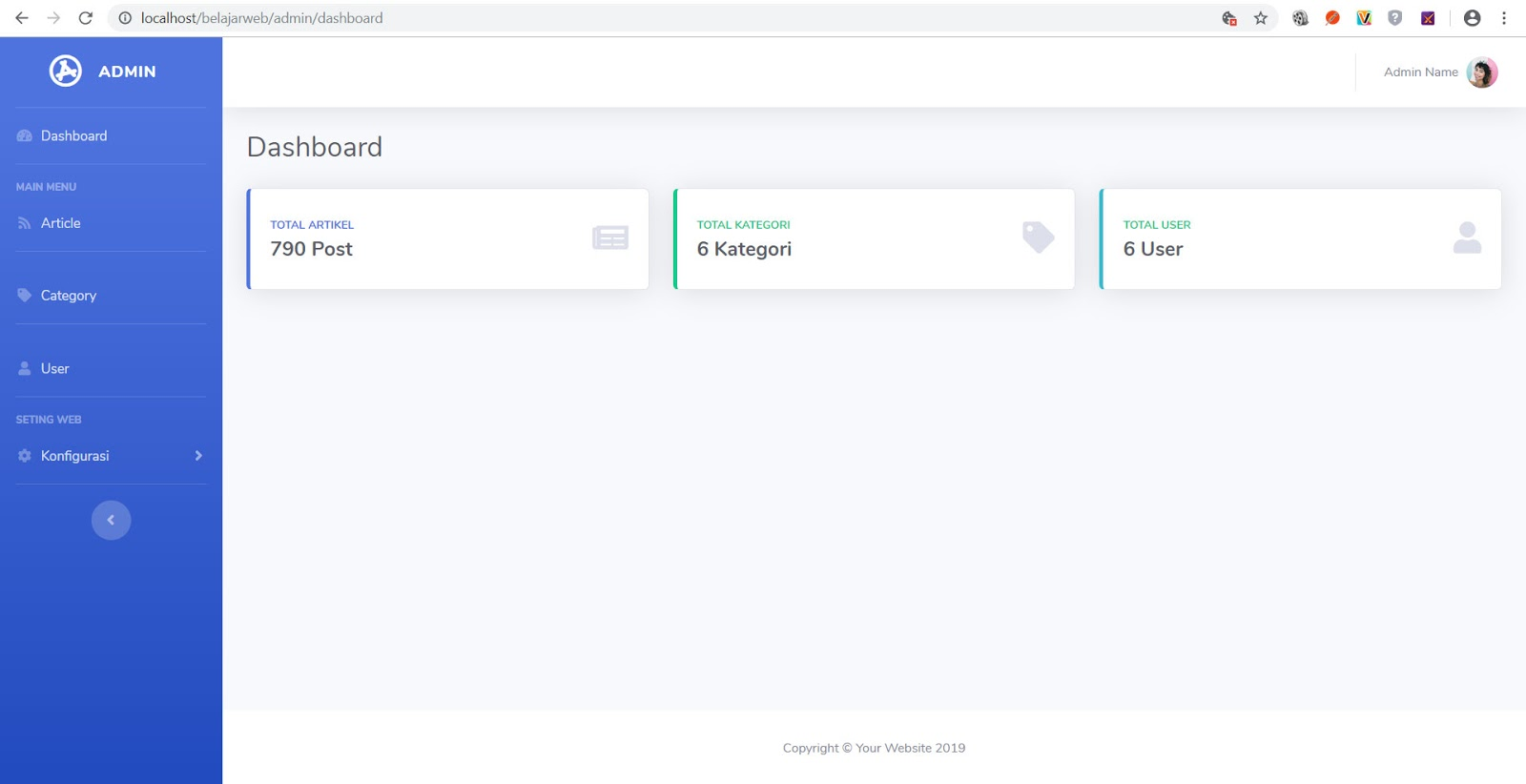 Tutorial membuat web dengan codeigniter - membuat halaman dashboard