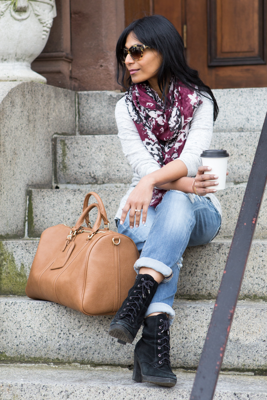 ripped jeans, boyfriend jeans, relaxed jeans, blue jeans, distressed denim, sole society, vegan leather, ankle booties