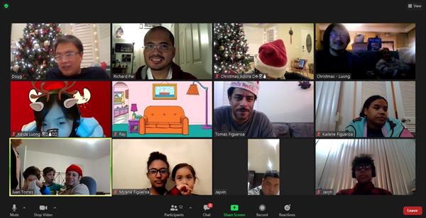 A screenshot that I took of our Zoom Xmas party on December 20, 2020.