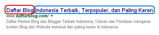 Meta Title SEO - Judul Halaman HomePage di Mesin Pencari google