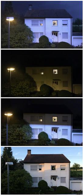 Vier Aufnahmen ein- und desselben Hauses in einer Gewitternacht