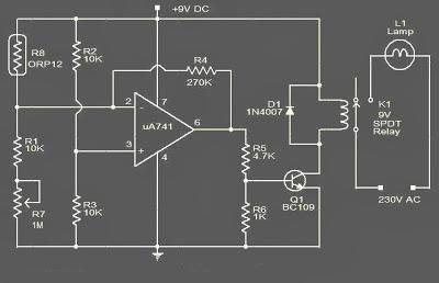 Rangkaian Saklar Lampu Otomatis Menggunakan Sensor Cahaya