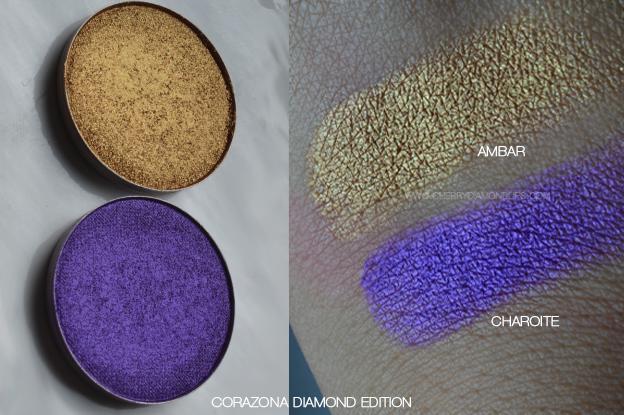 haul maquibeauty, maquillalia, swatch Corazona Diamond Edition Ambar, Swatch Charoite corazona