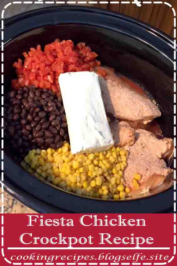 4.8 ★★★★★ | This Fiesta Chicken Crockpot Recipe is an easy and delicious dinner your family is sure to love! Great served over rice, with tortilla chips, or in tacos! | #easy dinner recipes #for family #chicken #simple #crock pot