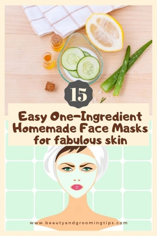 quick one ingredient face maks for instant,  glowing skin - pic of ingredients for a face mask & women with a diy face mask illustration