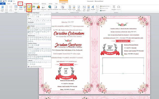 Desain Undangan Pernikahan Dengan Word Gratis