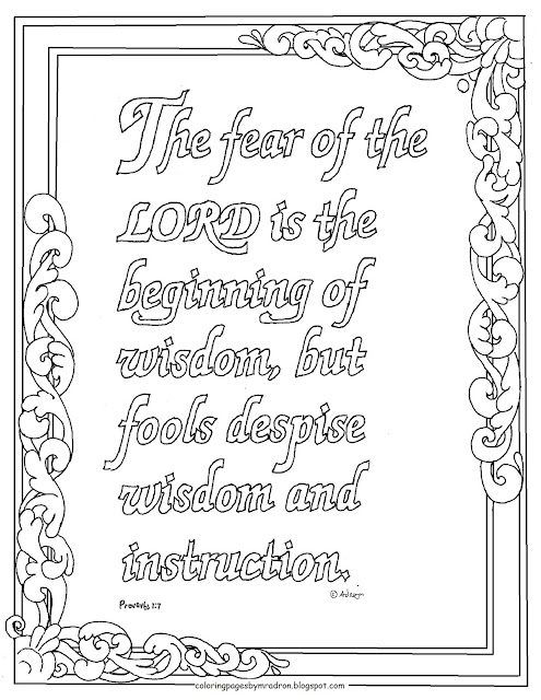 Coloring Pages for Kids by Mr. Adron: Proverbs 1:7, The