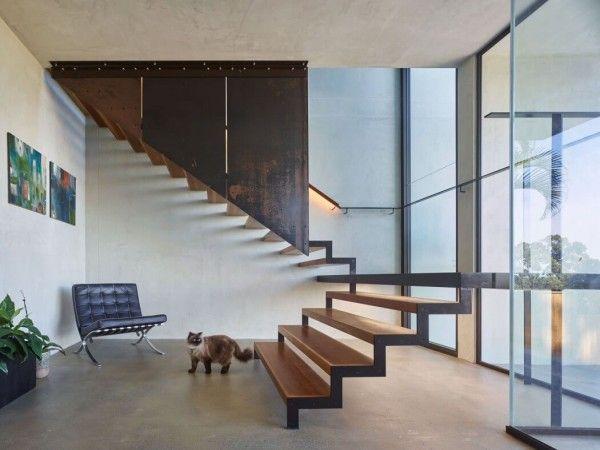 Wooden dog legged staircase
