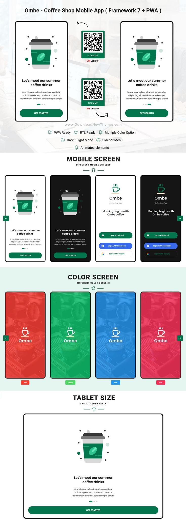 Ombe - Coffee Shop Mobile App Template