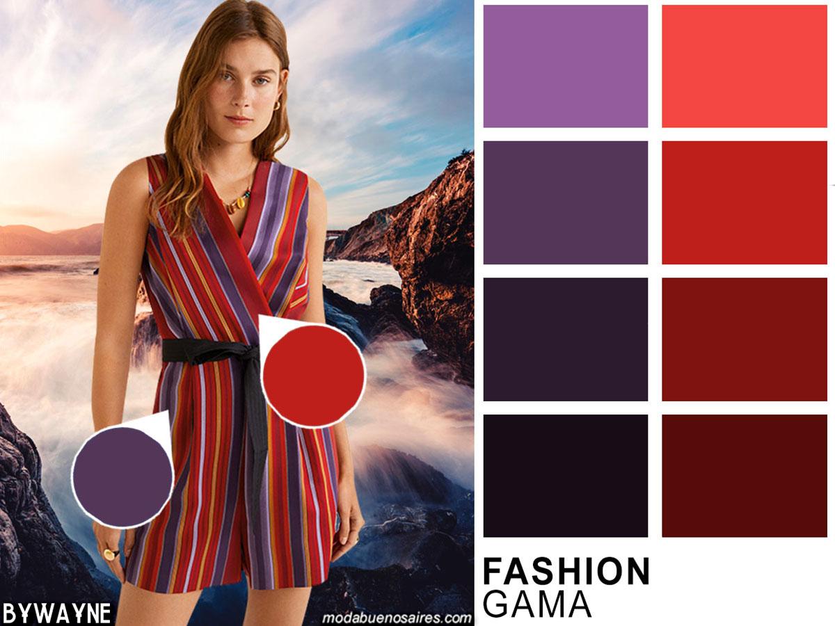 Colores de moda primavera verano 2020. Rojos y violaceos primavera verano 2020.