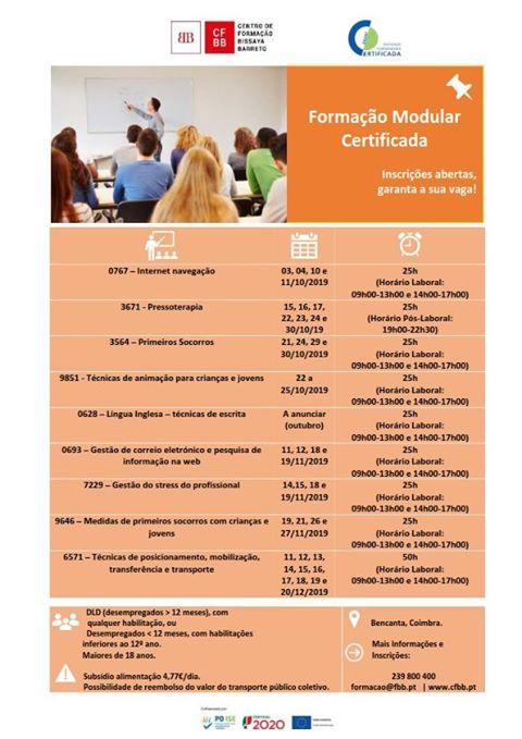 [COIMBRA] Formações modulares certificadas para desempregados
