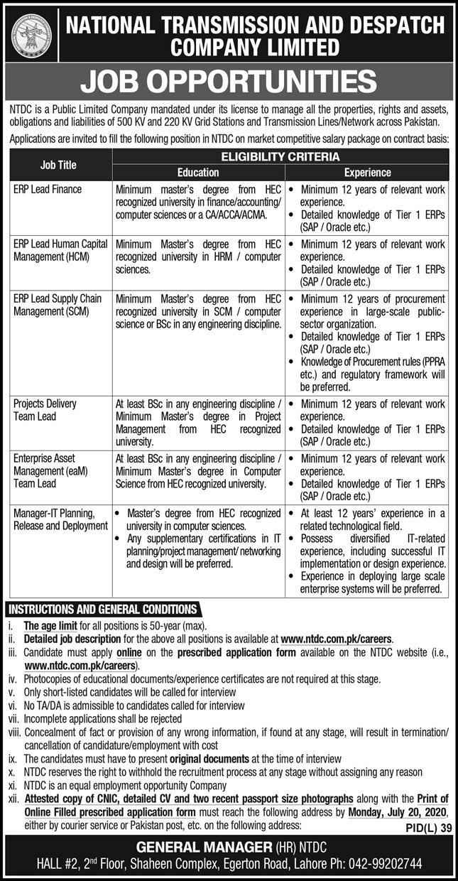 National Transmission & Dispatch Company (NTDC) Jobs 2020 For ERP Lead Finance, Manager IT Planning, Manager Release & more