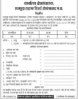 Satpura Tiger Reserve Recruitment 2017