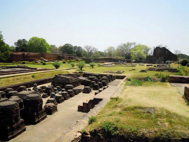 The remains of a temple at Nalanda
