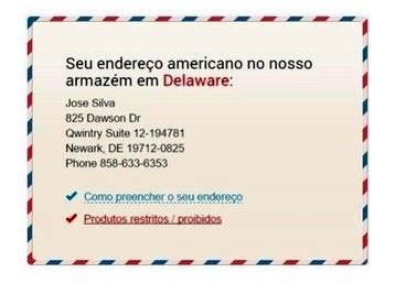 Exemplo de endereço nos EUA fornecido pela Qwintry